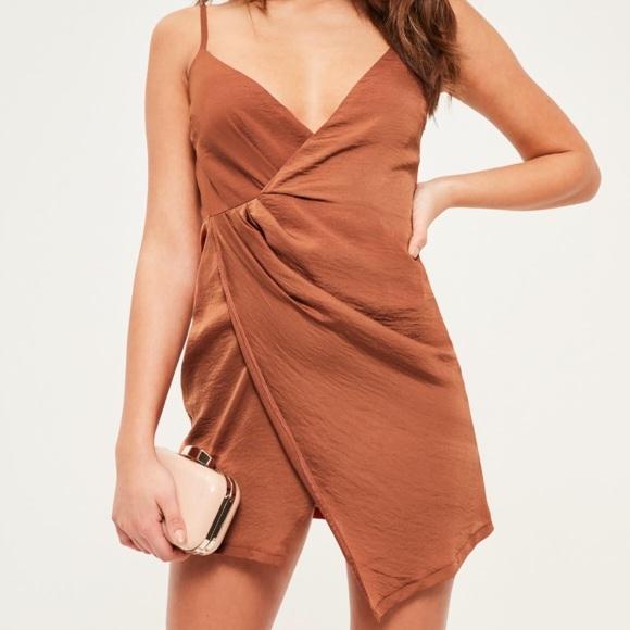 NWT Missguided Silk Wrap Mini Dress cf22cacae