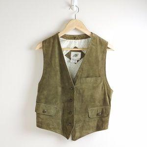 Vintage Olive Leather Suede Field Vest