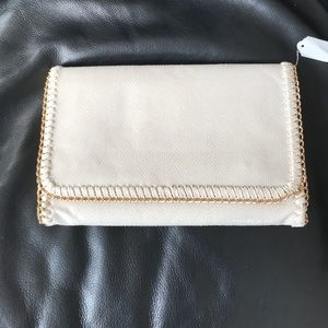 Brand new cream and gold clutch