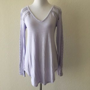 Anthropologie Deletta lace line top lavender XS