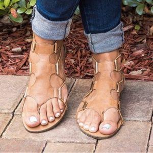 Victoria Adames Camel Stretch Gladiator Sandals