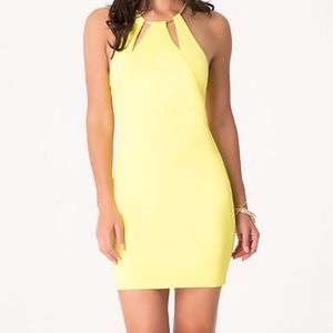 Yellow keyhole Bebe dress