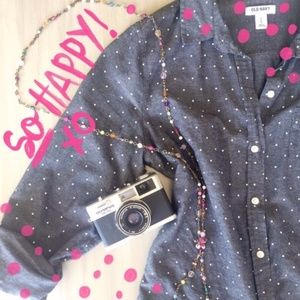 Sz M Old Navy Chambray Polka Dot Button Up Top