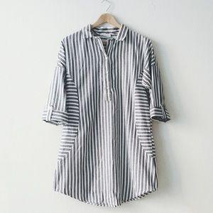 NWT ivory n grey stripe shirt dress