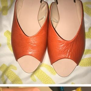 Zara orange slip on sandal