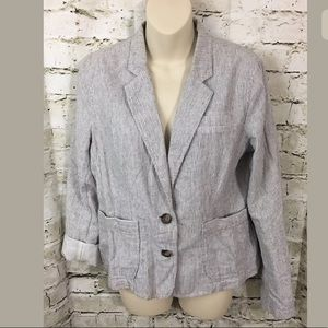 LOFT Striped Linen Blend Blazer