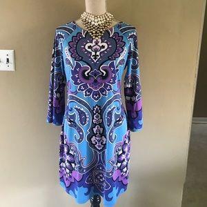 Blue paisley vintage mod style dress
