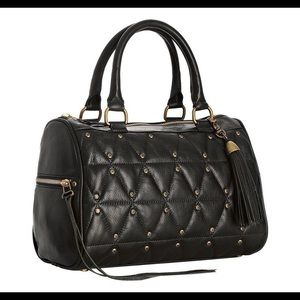 Rebecca Minkoff black flame studded screw satchel