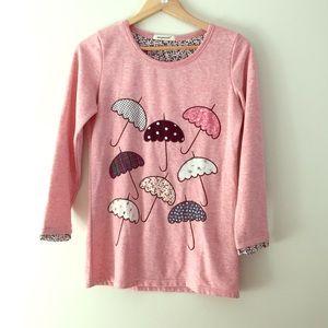 Waypoints printed umbrella patch tunic sweatshirt