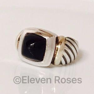 David Yurman Large Fluted Cable Black Onyx Ring
