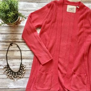 Anthropologie Coral Knit Cardigan
