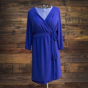 Lane Bryant Blue Long Sleeve Wrap Dress 22/24