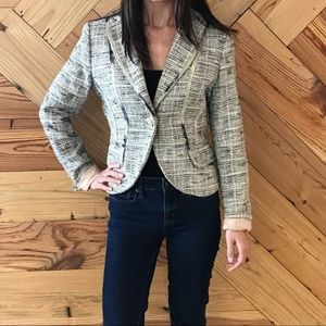 The Limited Tweed Blazer with Rose Button