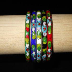Chinese Cloisonne Bangle Bracelets Set of 5