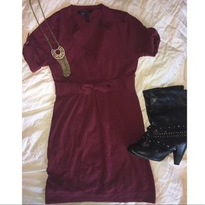BCBG merlot colored sweater dress