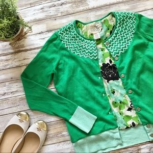 Anthropologie Green Crossheart Cardigan
