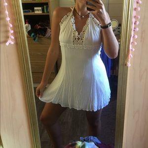 White mini dress with Crochet Detailing