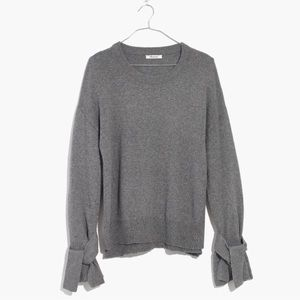 Madewell Gray Tie Cuff Pullover Sweater