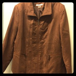 TANJAY Brown faux suede jacket coat lightweight 16