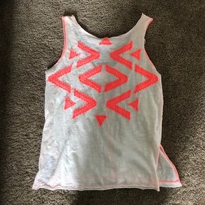 Tank with bright pink detailing and V back