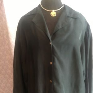 100% Silk Charcoal Blouse Mother if Pearl Buttons