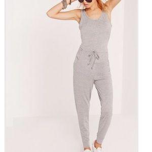 Jersey sleeveless grey jumpsuit