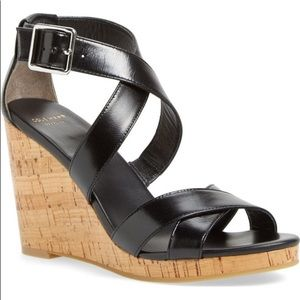 Cole Haan Jillian Black Strappy Wedge Size 7.5