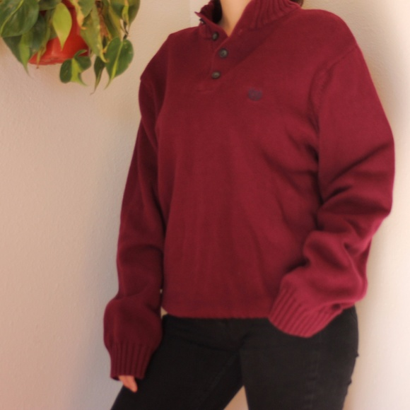 Chaps - Chaps Chunky Burgundy Henley Sweater from Jenna's closet ...