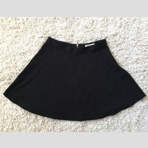 Forever 21 Black Mini Skater Skirt Exposed Zipper