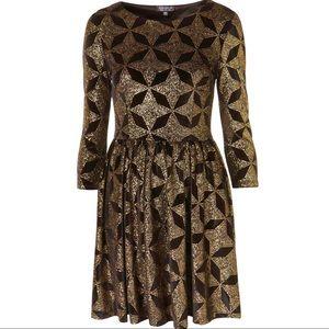 TOPSHOP Gold Glitter Star Print Dress size 8