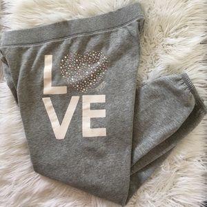 Victoria Secret Grey Love Rhinestone Sweatpants
