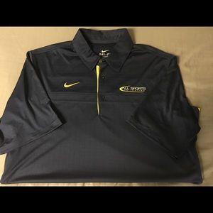 Nike navy blue and yellow dri-fit polo size large