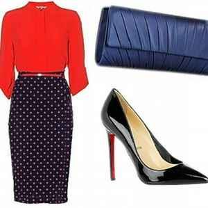 H&M Navy and Red Polka Dot Pencil Skirt
