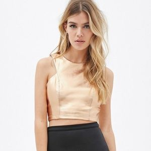 Forever 21 Gold Leather Crop Top with Zipper