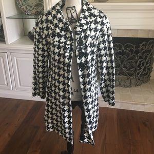 Coldwater Creek black & White lined tweed coat