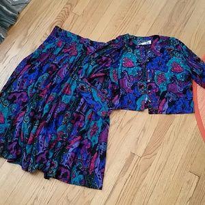 VTG 2pc Skirt & Jacket Retro Set! Size M♡