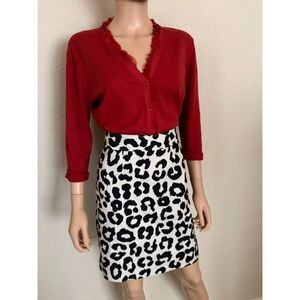 Loft Leopard Pin Up Pencil Skirt Career Work Silk