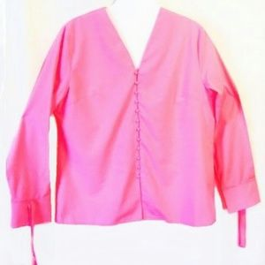 Pink Tunic Vneck Button front Cuff tie bow size 20