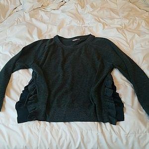 Zara Green Sweater with side slit ruffles