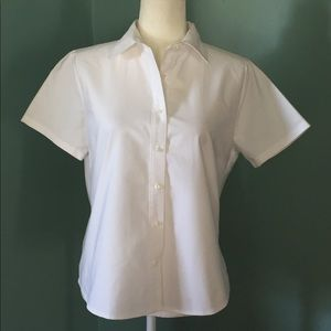 Lands End Short Sleeve Button Down White 14