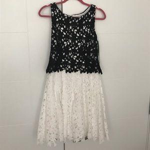 Beautiful black and white crochet lace dress
