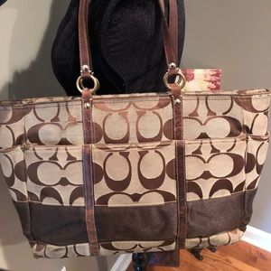 Signature Brown Coach Diaper Bag