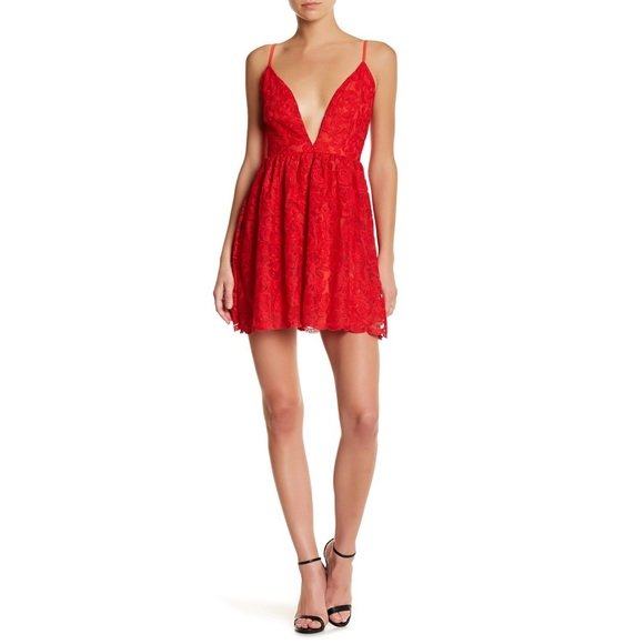 Missguided Lace Plunge Skater Dress Red Size 4 Nwt
