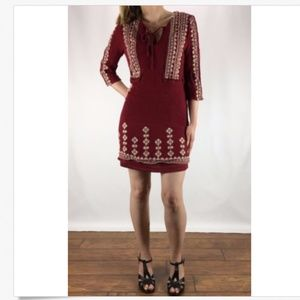 ALYA Ruby Red Embroidered Boho Mini Dress M
