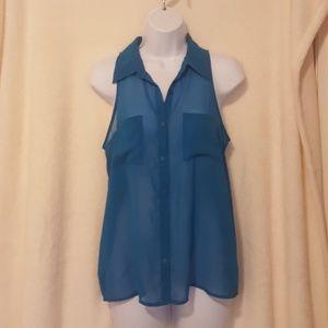Blue Sheer Top Size Small