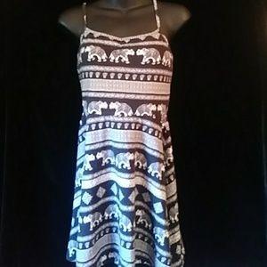 Forever 21 cotton bl/wh knit print sundress-sz S
