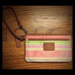 Coach Striped Wristlet