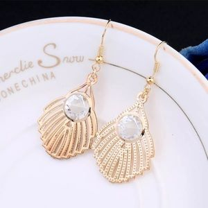 🐚HOLLOW SHELL GOLD & & CRYSTAL DANGLY EARRINGS🐚