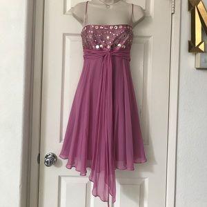 BCBG Maxazria Mauve Silk Chiffon Sleeveless Dress