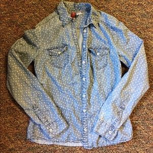 Light Blue Denim Button Up w/ white heart pattern